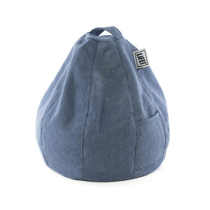 Denim blue iCrib iPad holder tablet bean bag caddy showing storage pocket and handle