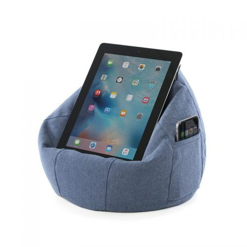 Denim blue iCrib holds an ipad and an iphone