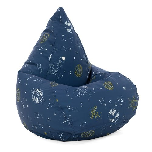 Space buddy tear drop shaped bean bag showing rockets and planets on a blue background