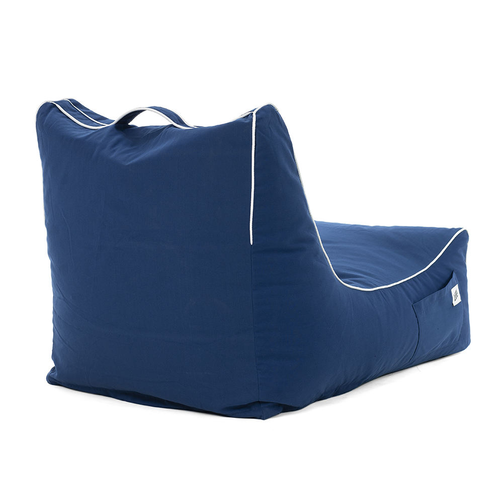 Back view of the blue navy steel coastal lounger bean bag