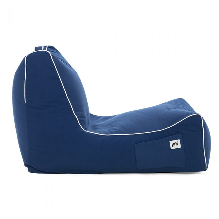 Side view of the steel blue navy coastal lounger bean bag showing the side pocket