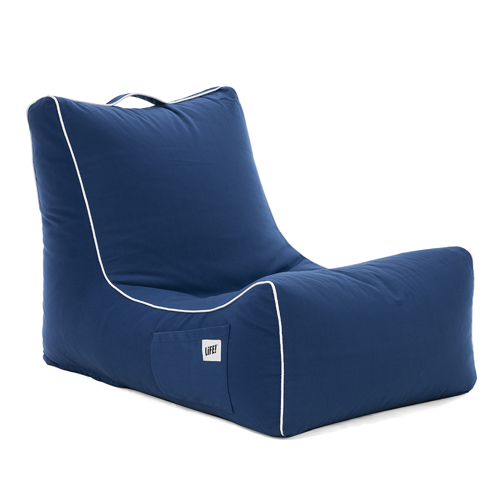 Oblique view of the steel blue cobalt blue navy blue coastal lounger bean bag