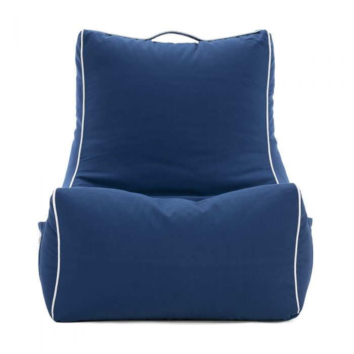 Front view of the steel blue navy coastal lounger bean bag