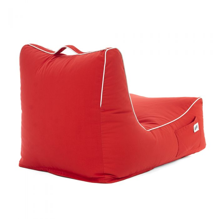 back view of the scarlet coastal lounger bean bag showing the handle, piping and storage pocket