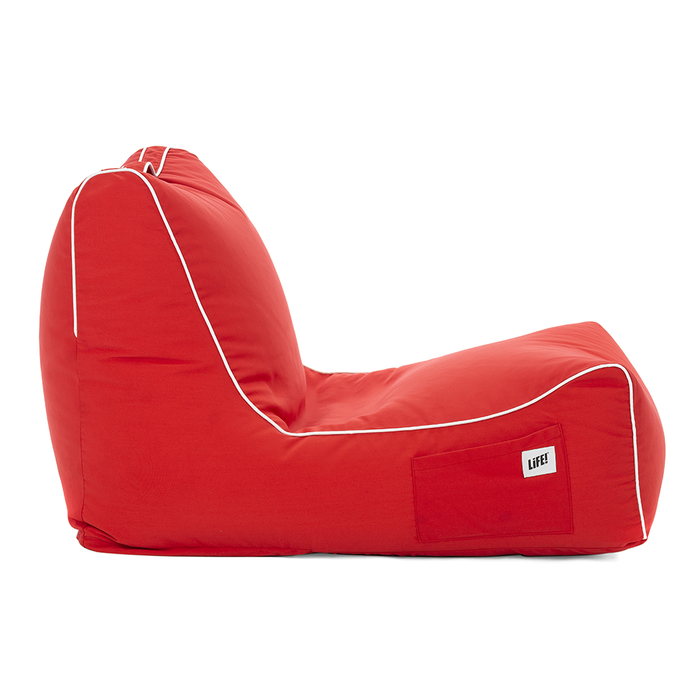 side view of the scarlet coastal bean bag showing piping and storage pocket