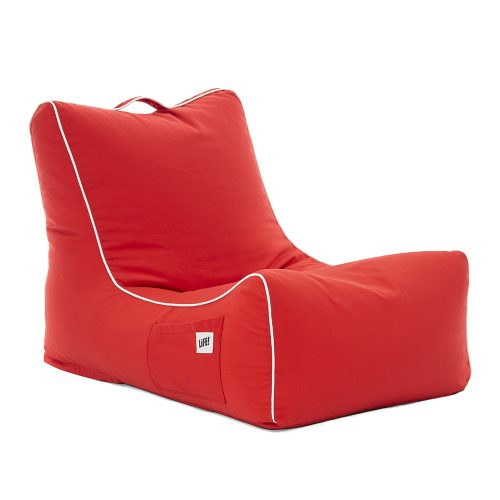 oblique view of the scarlet coastal lounger bean bag