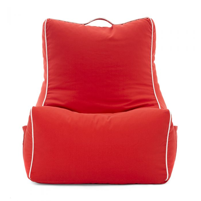 scarlet red coastal lounger bean bag from the front