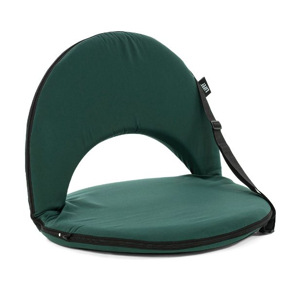 Cushion recliner portable beach seat in forest green showing carry strap