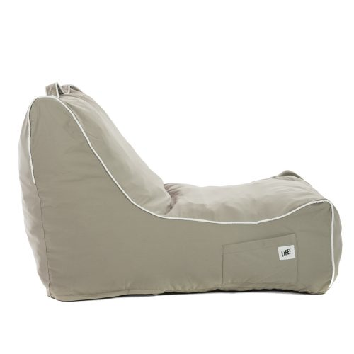 side view of the ozark grey coastal lounger showing bean bag shape, contrast piping, and side pocket