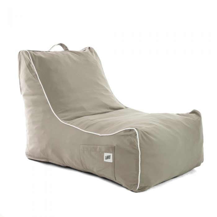 Oblique view of the ozark grey coastal lounger bean bag showing shape, handle and pocket