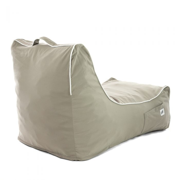 back view of the ozark grey coastal lounger bean bag showing piping, handle and pocket