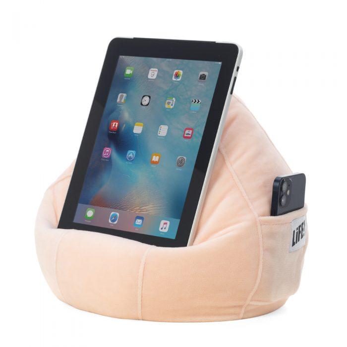 sherbet velvet iCrib holding an iPad and phone