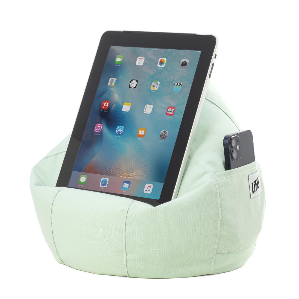 Tropical green iCrib holding an iPad and phone