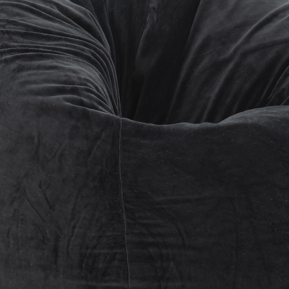 Close up of the jet black velvet material used