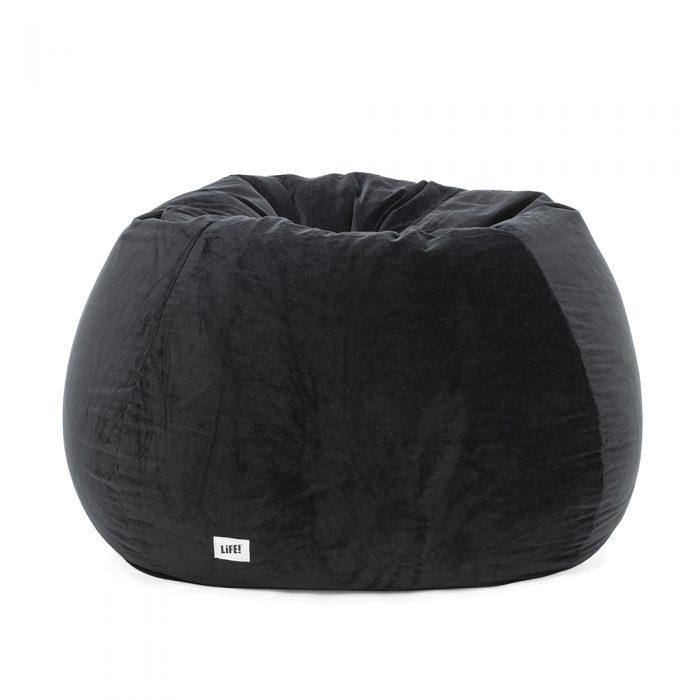 Jet black velvet bean bag looking rounded
