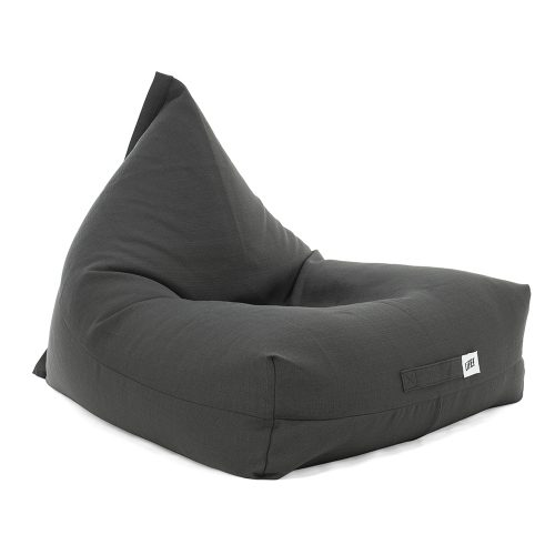 Oblique view of the shadow dark grey linen look luna shaped bean bag
