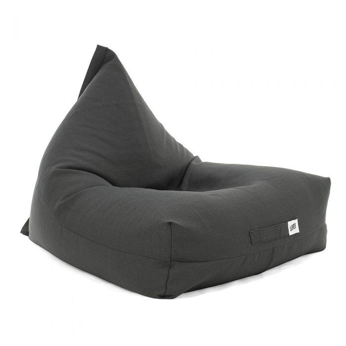 Oblique view of the shadow dark grey linen look luna shaped bean bag
