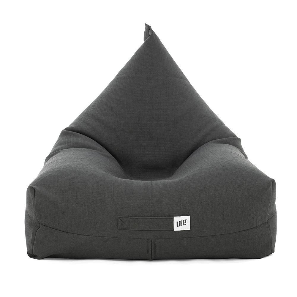 Front view of the dark grey shadow linen look luna shaped bean bag