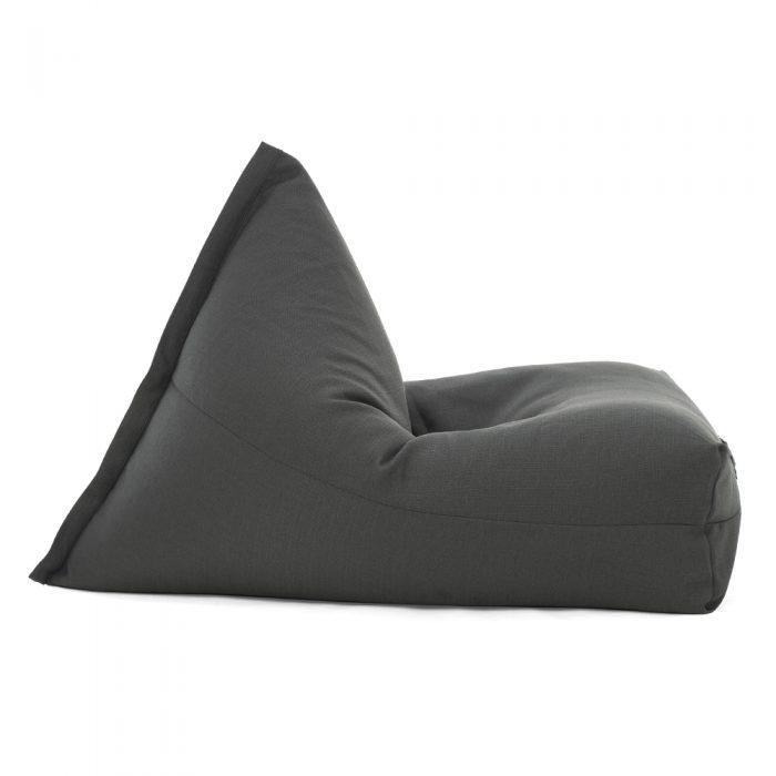 Side view of the dark grey shadow linen look luna shaped bean bag