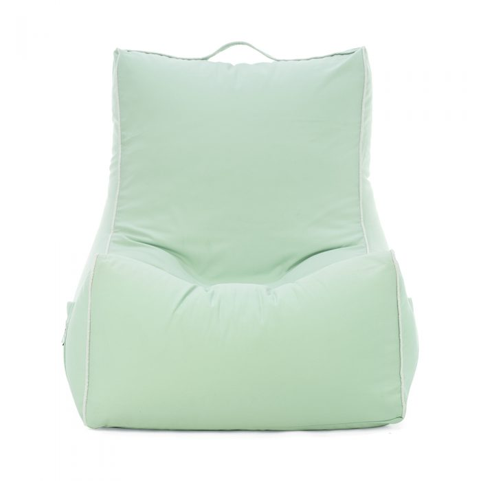 front view of the tropical green coastal lounger bean bag