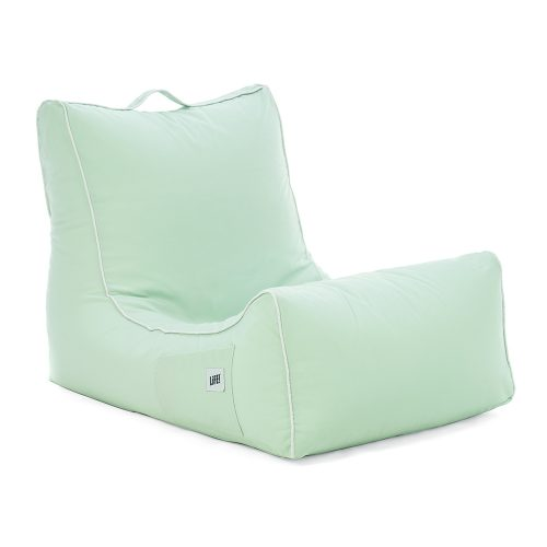 Oblique view of the tropical green coastal lounger bean bag