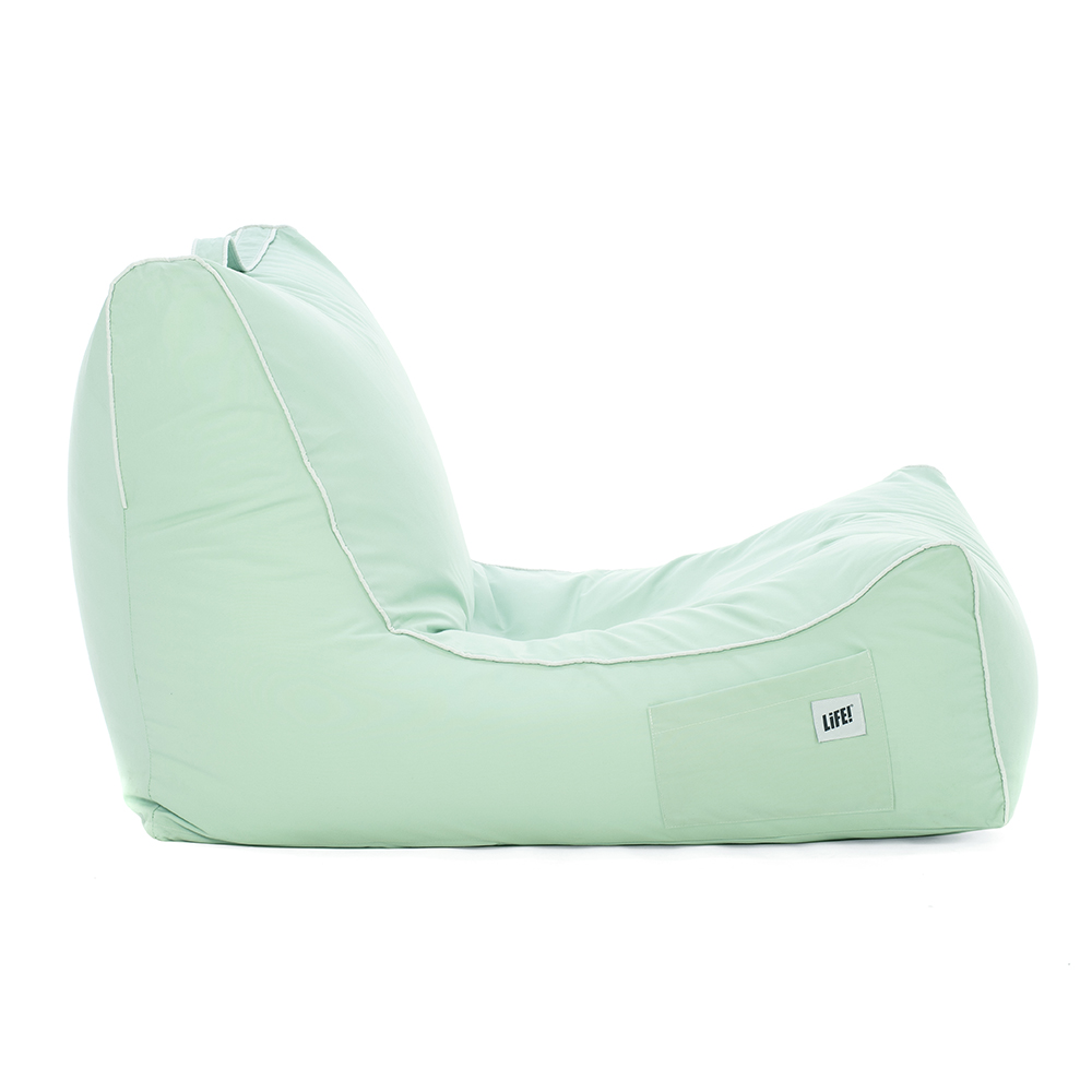 Side view of the tropical green coastal lounger bean bag
