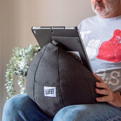 dark grey linen look iCrib is use holding a large iPad