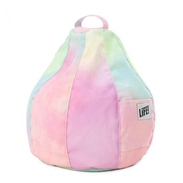 Pastel coloured tye die iCrib showing the carry handle and pocket