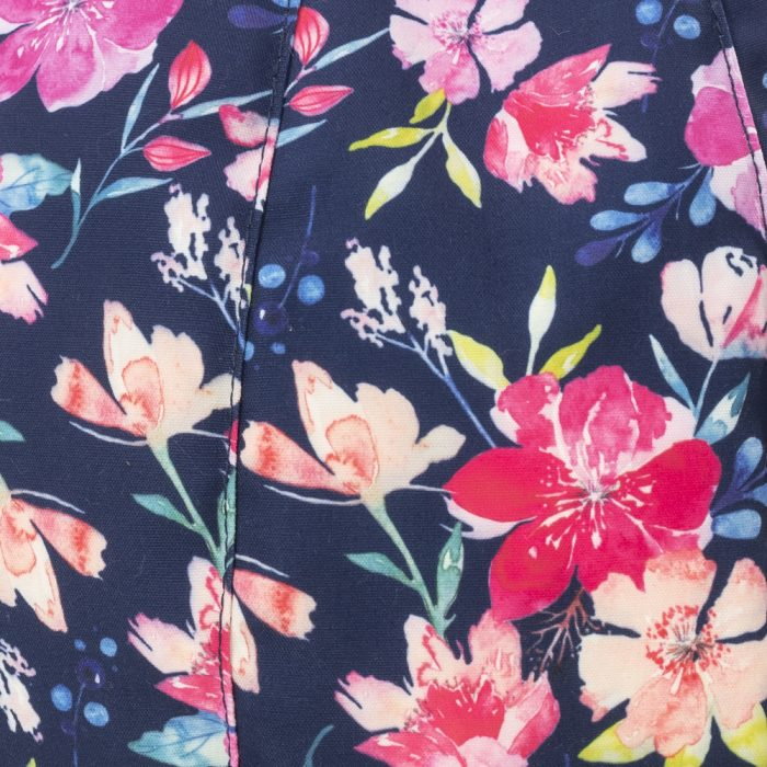 close up of the floral watercolor print on navy background used on the kalaii iCrib
