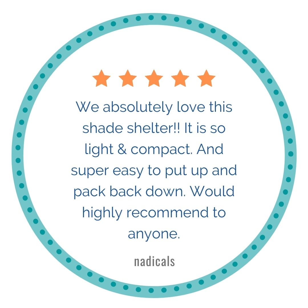 5 stars, We absolutely love this shade shelter!! It is so light & compact. And super easy to put up and pack back down. Would highly recommend to anyone.